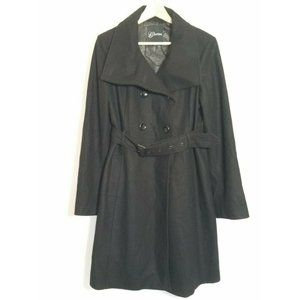 Guess Double Breasted Wool Black Coat Womens Large